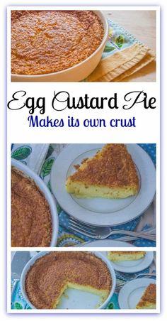 A o Egg Custard Pie. A one bowl egg custard pie that makes its own crust. Egg Recipes, Dessert Recipes, Cooking Recipes, Drink Recipes, Cake Recipes, Vitamix Recipes, Amish Recipes, Dessert Ideas, Recipes