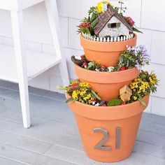 Fairy garden house number planters