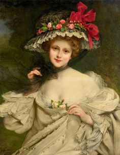 François-Martin Kavel (1861 - 1931) - A beauty with a red ribboned hat