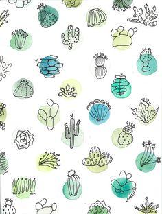 Mélange entre linéaires et aplats de couleurs ---- Cactus sociale Aquarelle Print par DahlHouseInteriors sur Etsy, $22.00