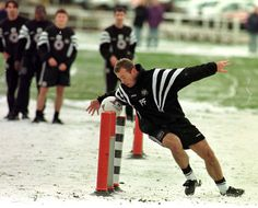 November 1996: Newcastle United striker Alan Shearer takes a tumble in the snow, during a training session in Durham