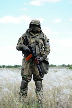 Solider in MOPP Gear with suppressed AKS-74U