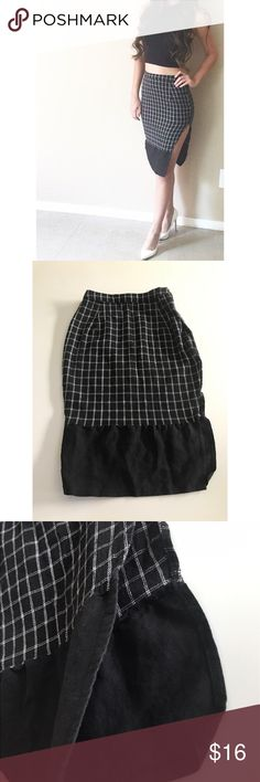 Black Plaid Slit Skirt Black Plaid Slit Skirt! Super cute street style, business, or chic office wear with a twist! I paired with a black crop top and white pointed toe heels! In great condition! Size is S. My waist is 24/25 Compliments figure greatly! *Measurements are seen as in pictures!* Skirts