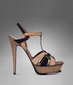 YSL Tribute High-Heel Sandal in Pale Beige Suede