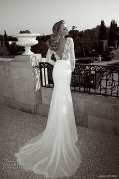 Zoog Studio wedding dress 2013.  Long sleeve sheath bridal gown with Guipure lace bodice -- deep V back.  This is the most beautiful wedding dress I have ever seen!  I'd love to see the front!