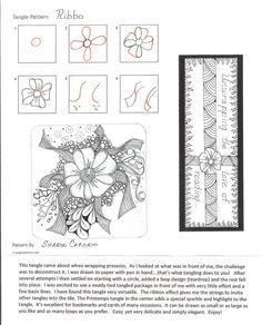 Ribbo Tangle Stepout ~ from Sharon Caforio, CZT Tangle Doodle, Doodles Zentangles, Zen Doodle, Doodle Art, Doodle Designs, Doodle Patterns, Zentangle Patterns, Flower Doodles, Zen Art