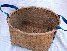 Laundry Basket Handwoven Blue Shaker Tape Handles by basketsbyrose, $50.00