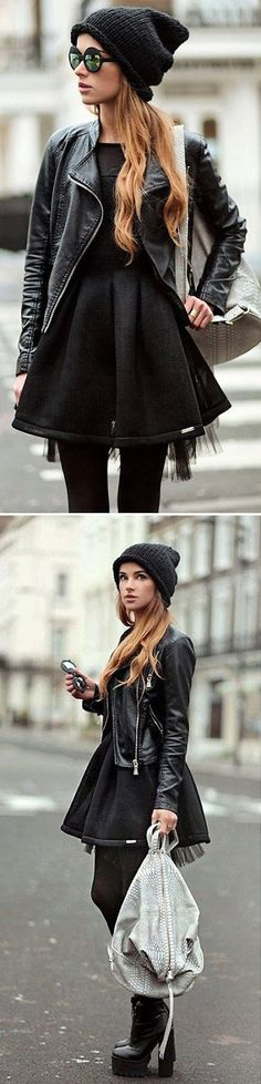 Leather Moto with Tulip Little Dress and Beanie Bo...