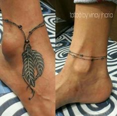 Anklet tattoo by vinay jharia - Tattoos Feather Tattoos, Leg Tattoos, Body Art Tattoos, Girl Tattoos, Sleeve Tattoos, Foot Tattoos Girls, Tatoos, Tattoo Femeninos, Tattoo Bein