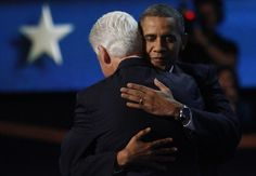 POTUS hug President Barack Obama hugs former President Bill Clinton after Clinton's nominating speech for Obama at the Time Warner Cable Arena during the Democratic National Convention in Charlotte, North Carolina on September 5, 2012. Photo by Nell Redmond/UPI | License Photo