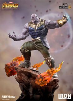 Marvel Thanos Statue by Iron Studios Thanos Marvel, Marvel Avengers, Infinity Gauntlet Comic, Black Panther Statue, Marvel Statues, Custom Action Figures, Sideshow Collectibles, Marvel Characters, Studios