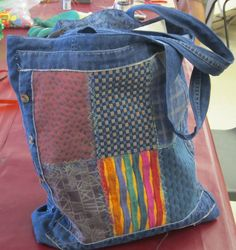 Bag made from fabric scraps and a pair of denim jeans by our member Sue  Gloucestershire Resource Centre  http://www.grcltd.org/home-resource-centre/