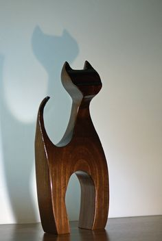 Wooden Cat Sculpture Hand Made Figurine by CoastlineWoodCraft