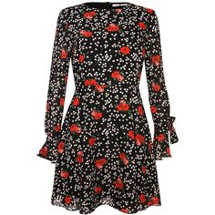 Dark Floral Skater Dress by Glamorous Petite ($45) ❤ liked on Polyvore featuring dresses, black, floral skater dresses, flower printed dress, floral dresses, sleeved dresses and floral pattern dress