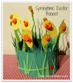 Sun Hats & Wellie Boots: Springtime Easter Bonnet  - though would make a cute table display