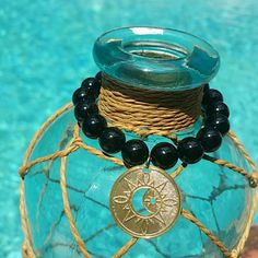 BLACK ONIX and 18k gold plated bracelet Amazing statment piece,  with an 18k gold plated SUN/MOON  charm 1.2  inches long bracelet. Jewelry Bracelets