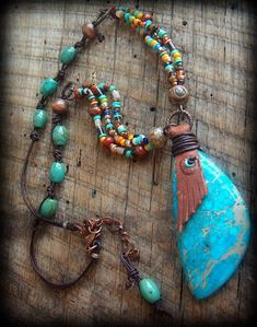 Jaspe turquesa cuentas africanas y cristal collar de cuero
