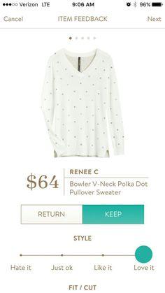 Stitch Fix Renee C Bowler V-Neck Polka Dot Pullover sweater