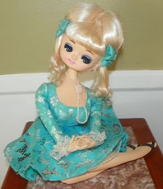 Vintage 1960's Bradley Doll--Pretty Cloth Blonde With Blue Dress Sitting Pose