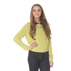 Lime Green Sweater with Sparkle Accents