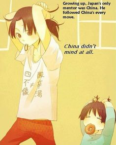 I am never getting over his!!! ♥♥♥ Hetalia China and baby Japan