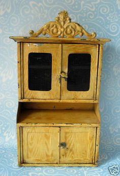 Antique Bing German grain painted tin miniature cabinet