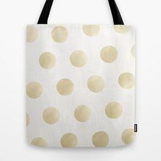 Gold Polka Dots - white Tote Bag #totebag #totes #tote #beachbag #polkadot #polkadots #dots #polkadotpattern #pattern #gold #goldprint #trend #trending #trendy #goldpattern