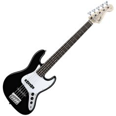 """Squier by Fender Affinity Jazz V String Beginner Electric Bass Guitar - Rosewood Fingerboard, Black. Squier's Affinity Series provides the best value in instrument design available today, and is the perfect choice for the aspiring musician. Dual Single-Coil Jazz Bass pickups provide classic Fender electric bass tone with clear and punchy low end. The 20-fret rosewood fingerboard provides warm tone and organic feel. The modern """"C"""" shaped neck provides universal comfort for any style of..."""
