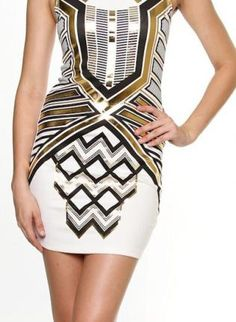 Metallic Gold Egyptian White VBack Foil Print Dress,  Dress, party dress  cocktail dress  fitted dress, Chic