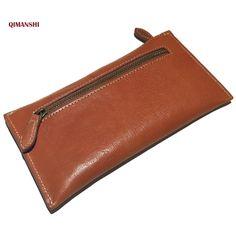 QIMANSHI Genuine Leather Wallet Classical Vintage Style Men Clutch Purse Zipper Coins Wallet Credit Card Holders