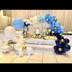 """I'll paint my moods in shades of blue..."" -Celine Dion (The colour of my love) Ombre blue, white and gold organic balloon decorations #blueballoons #blue #white #gold #geometric #christening #celebrations #eventplanning #jumboballoons #sydneyballoons #quirkyballoons"