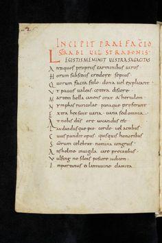 Manuscrit conservé à St Gallen, Suisse, 2° moitié du IX°s latin oeuvre de l'abbé et érudit de Reichenau Walafrid Strabon, légende versifiée sur le martyr de l'abbé irlandais Blathmac (Versus Strabi de beati Blaitmaic vita et fine) - 17) WALAFRID STRABON, ses oeuvres: les VERSUS DE BEATI BLAITHMAC VITA ET FINE, histoire versifiée d'un moine irlandais martyrisé en 825 par les Vikings.