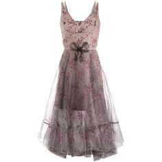 Christopher Kane Bow-print chiffon-overlay dress ($2,479) ❤ liked on Polyvore
