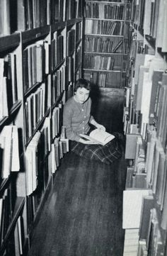 Vintage Simmons College picture of studying in the library