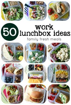 50 healthy work lunch ideas - packed in #EasyLunchboxes - FamilyFreshMeals.com
