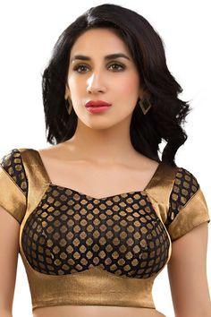 Black & antique gold banarasi brocade festive wear blouse with back deep u neck -BL737 | Brocade blouse online shopping | #black #gold #banarasiblouse