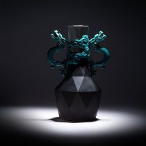 Panlong Vase by Chen-hsu Liu: A surprisingly masterful fusion of traditional dragons with a computer generated polygon. Made with traditional Koji pottery and ceramic techniques.