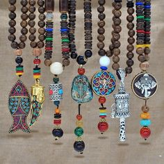 We've Partnered with to bring you new Arrivals Handmade Nepal Necklace Buddhist Mala Wood Beads Pendant at an amazing… Metal Necklaces, Handmade Necklaces, Handmade Jewelry, Jewelry Necklaces, Handmade Beads, Custom Jewelry, Boho Jewellery, Wooden Necklace, Craft Jewelry
