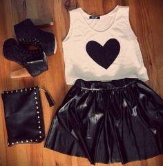 Zeliha's Blog: Black Leather Skirts Top Heart :)