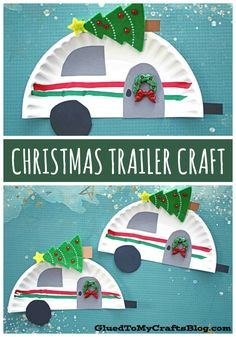 Paper Plate Christmas Camper – Kid Craft - Bastelideen - Welcome Epoxy Kids Crafts, Preschool Christmas Crafts, Daycare Crafts, Classroom Crafts, Toddler Crafts, Christmas Projects, Holiday Crafts, Holiday Fun, Christmas Time