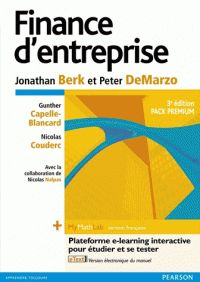 Jonathan Berk et Peter DeMarzo - Finance d'entreprise - Pack premium avec plateforme e-learning interactive.