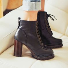 British Style Retro Pure Color Lace-up High-heeled Booties from gigmall