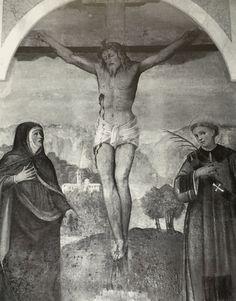 """Timoline - 1530 circa, affresco di Francesco Prata da Caravaggio """"Crocifissione tra la Vergine e San Lorenzo, fu posto nella navata. Oggi posto nella nuova parrocchiale."""