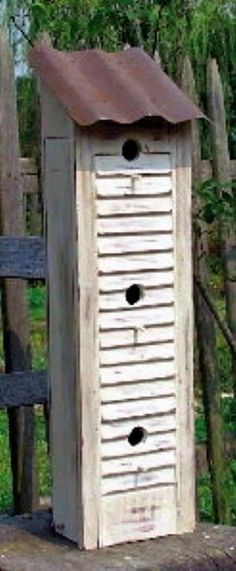Make a birdhouse using a shutter. Cute idea and I have some shutters by lindsey
