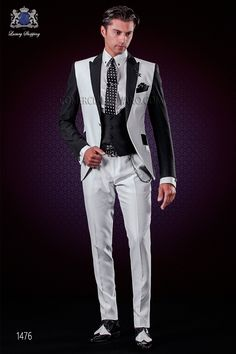 Traje de novio patchwork blanco y negro. Solapas de punta y 1 botón.  Comercial Moyano. Italian patchwork black and white wedding suit Ottavio  Nuccio Gala ecdc13ee74a
