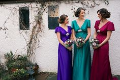 Colourful jewel toned bridesmaid dresses. Love the colours Photography by www.zoecampbellphotography.com
