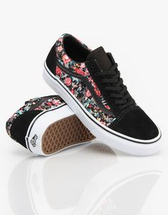 Vans Old Skool Girls Skate Shoes - Multi Floral/Black/True White - RouteOne.co.uk