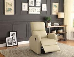 Mendon Contemporary Taupe Bi-Cast Vinyl Reclining Chair