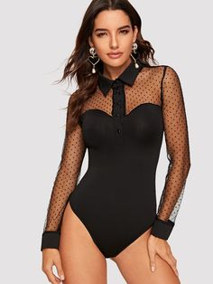 SHEIN offers Half Placket Dot Mesh Sweetheart Bodysuit & more to fit your fashionable needs. Suit Fashion, Fashion Outfits, Womens Fashion, Pullover Shirt, Body Suit Outfits, Estilo Fashion, Sexy Shirts, Beach Wear, Corsets
