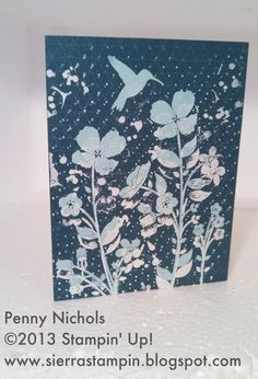 Note #card using Wildflower Meadow Stamp set and White and Pool Party Stampin' Embossing Powder